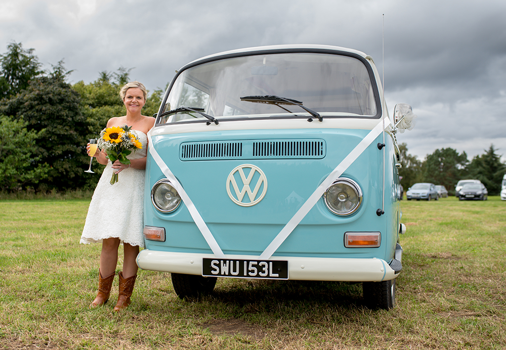 bride with vw camper van