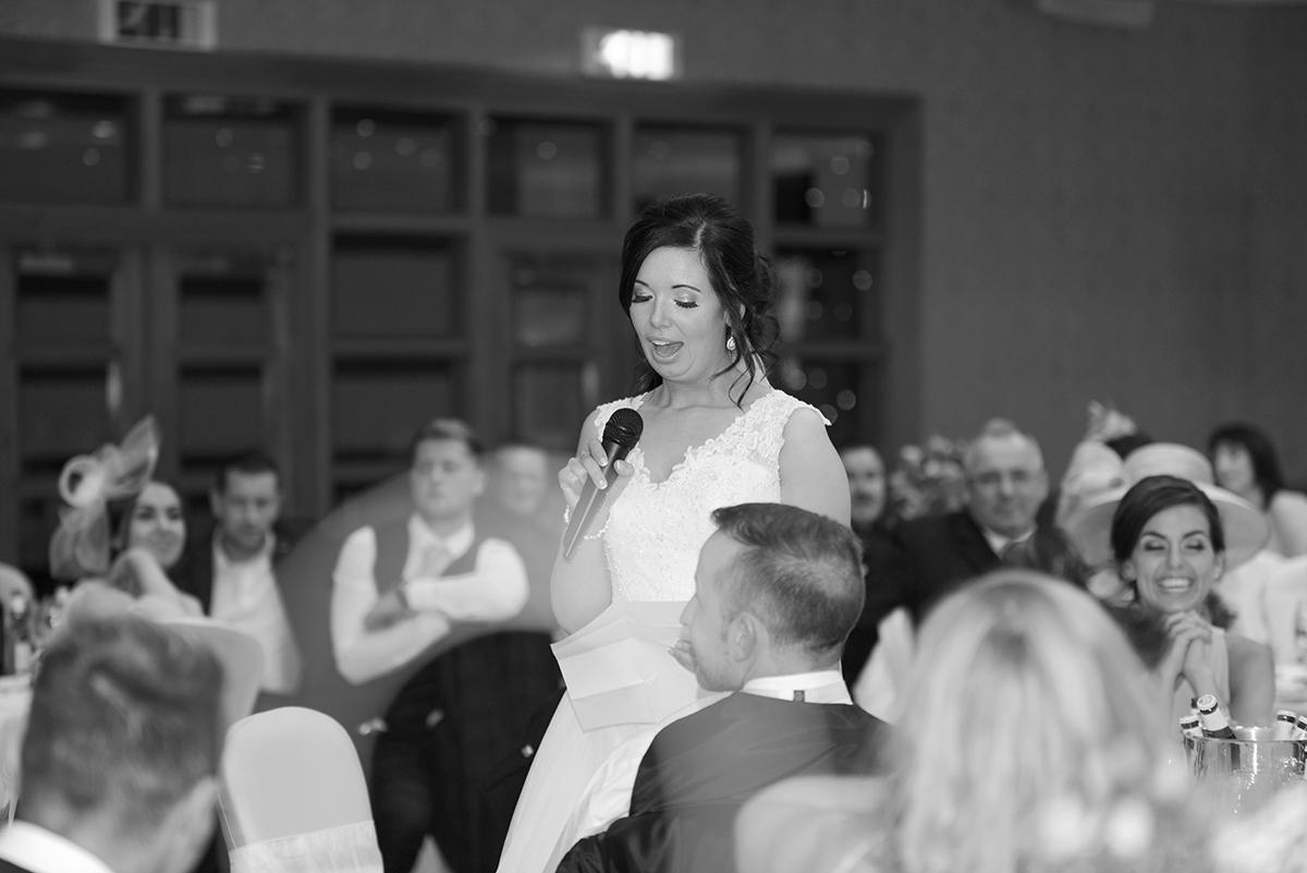 aviemore wedding bride doing a speech