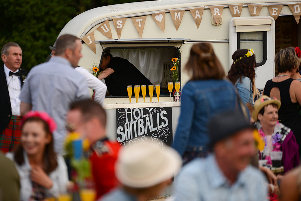 caravan serving drinks at festival wedding