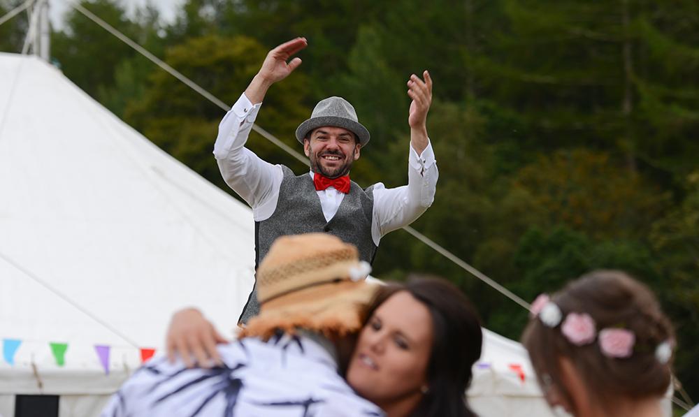 celebrating at festival wedding