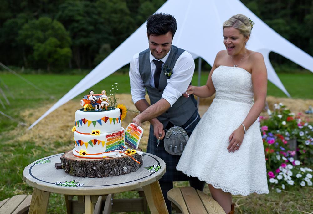 festival wedding rainbow cake idea
