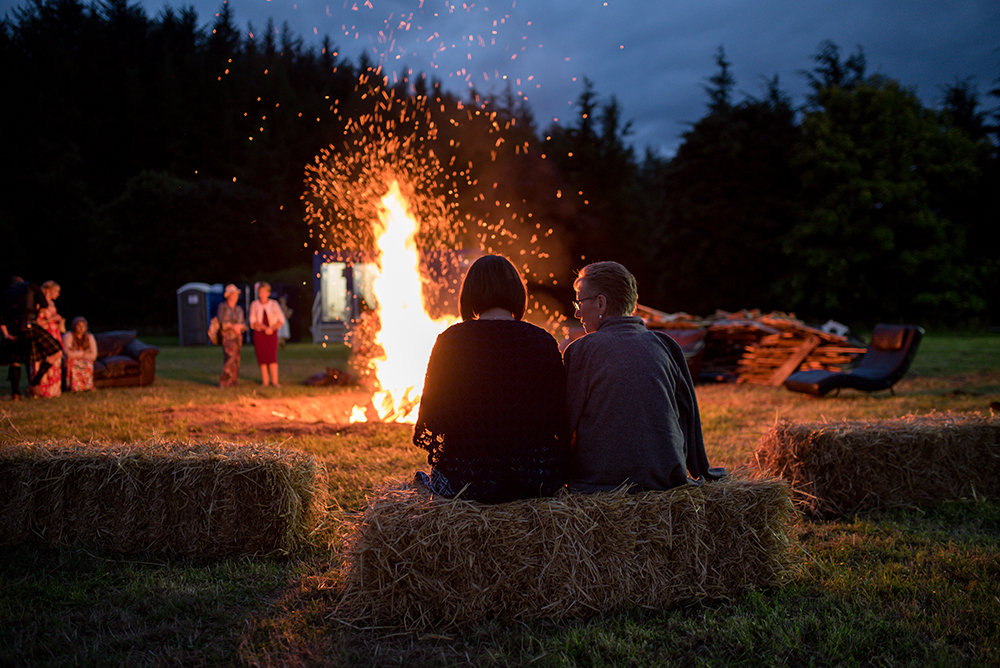 bonfire at a festival wedding