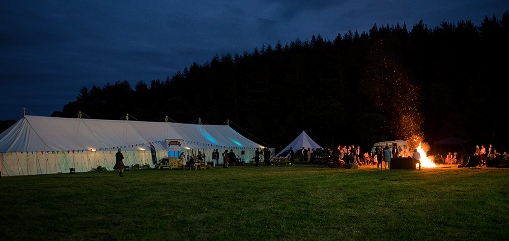 festival wedding Inverness with a bonfire