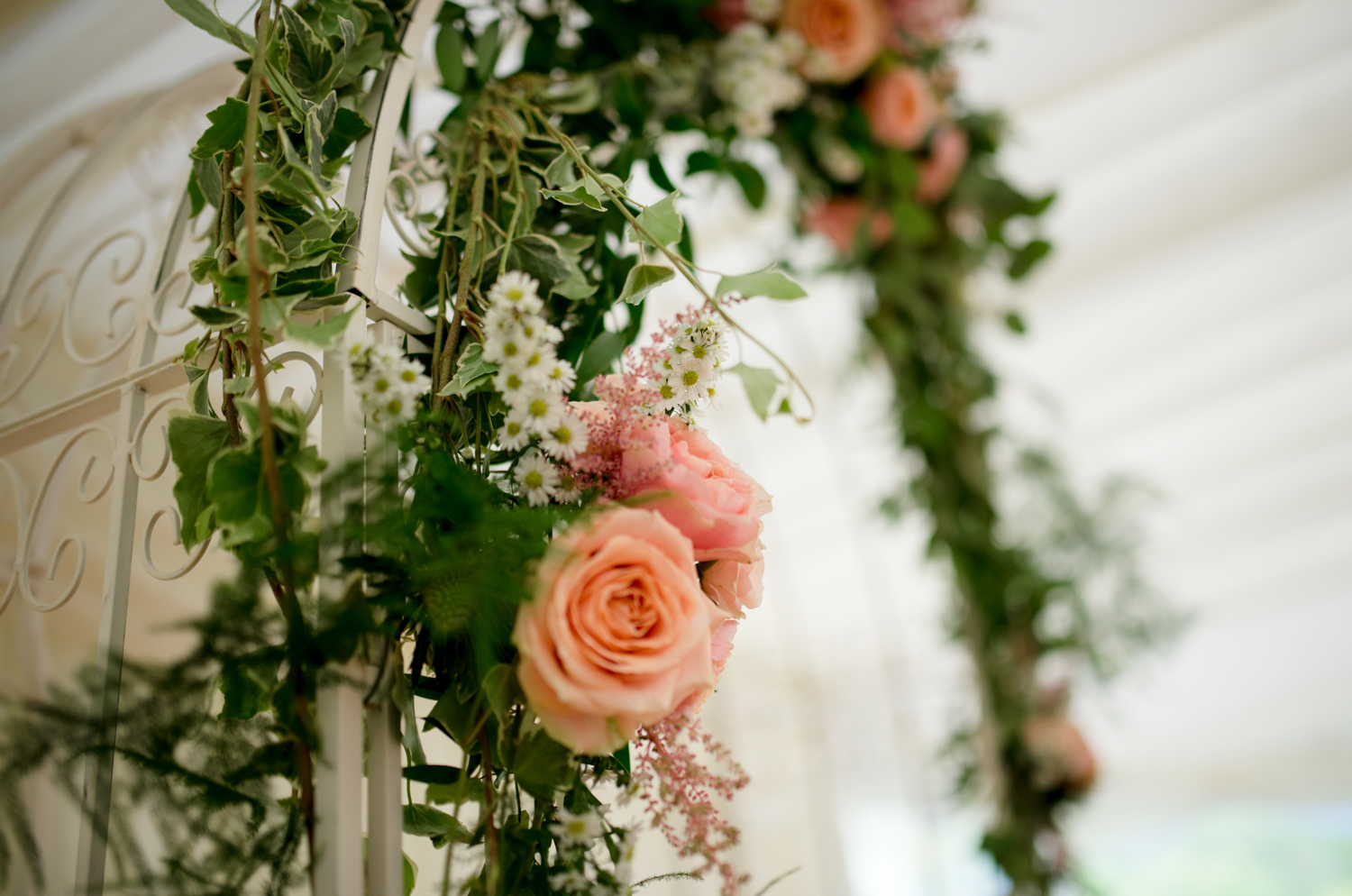 floral arch for marquee
