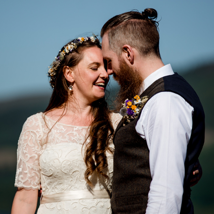 boho bride and groom scotland