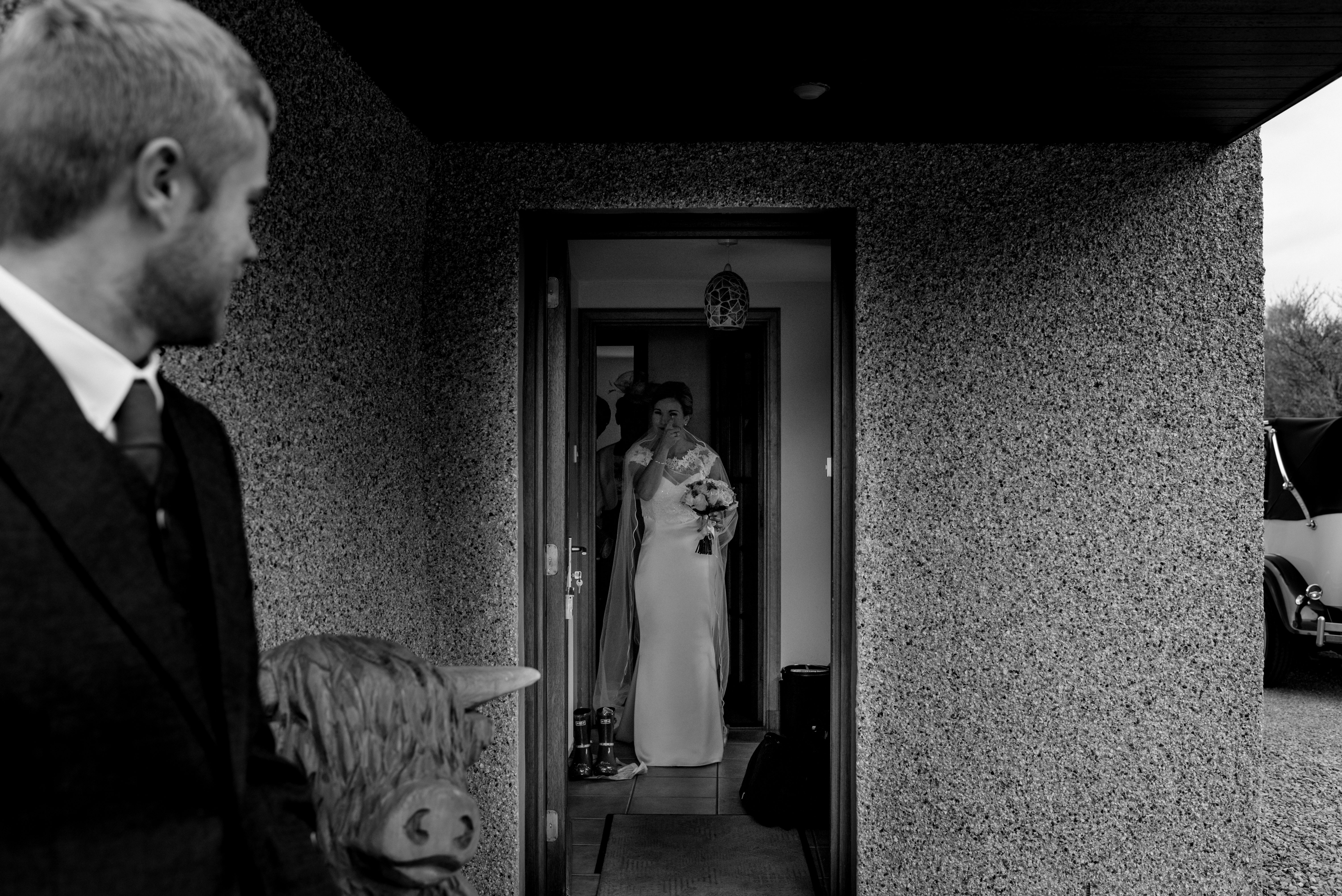 bride leaving her house